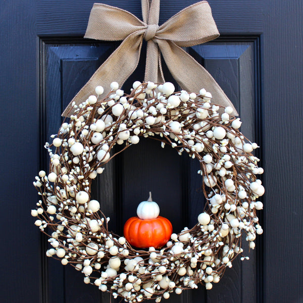 Give Thanks Wreath - Cream Berry Wreath - Fall Wreath - Thanksgiving Wreath