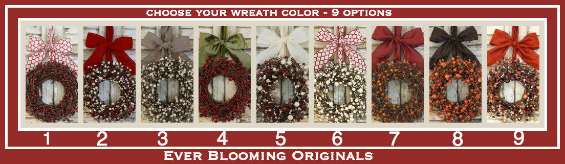 Mini Wreath - Farmhouse Wreath - Rustic Decor - Berry Wreath - Choose Bow