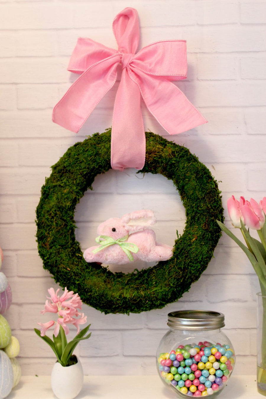 Spring Moss Bunny Wreath Door Hanger