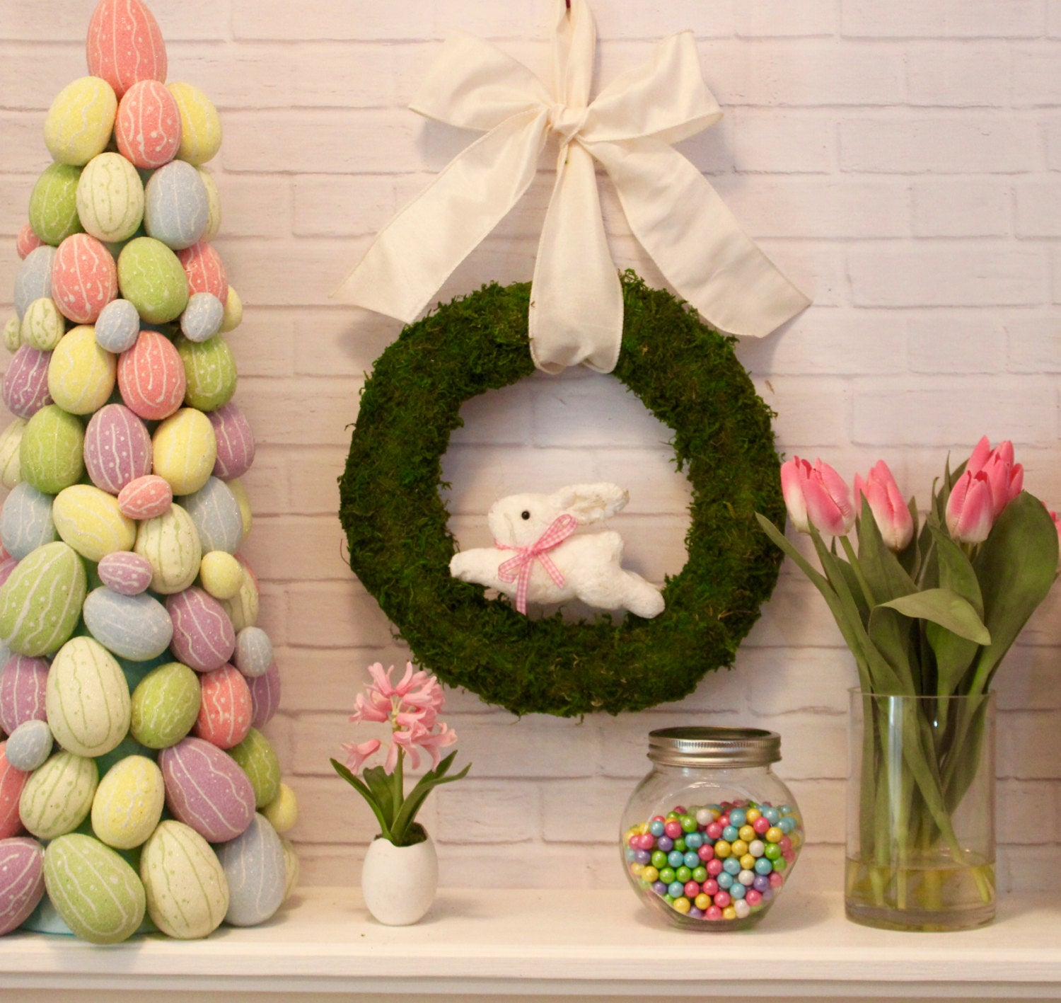 Bunny Wreath - Spring Wreath - Choose Bunny Color - Easter Wreath