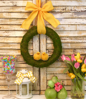 Spring Wreath - Easter Wreath - Chickadee Decoration - Moss Wreath