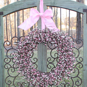 Cream & Pink Pip Berry Wreath