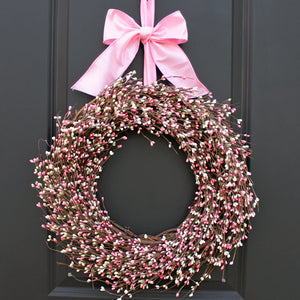 Cream & Pink Pip Berry Wreath with Bow