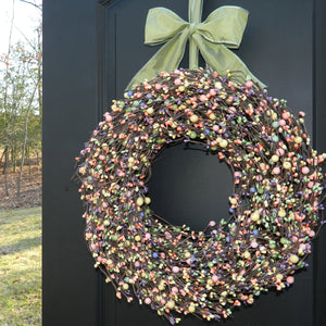 Mixed Spring Berry Wreath with Bow