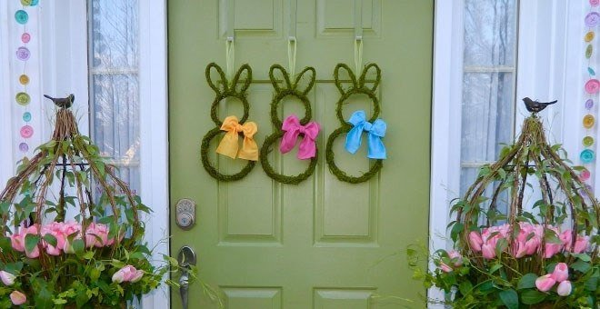 Easter Bunny Wreath - Choose Bow - Large Bunny Wreath - Choose Size