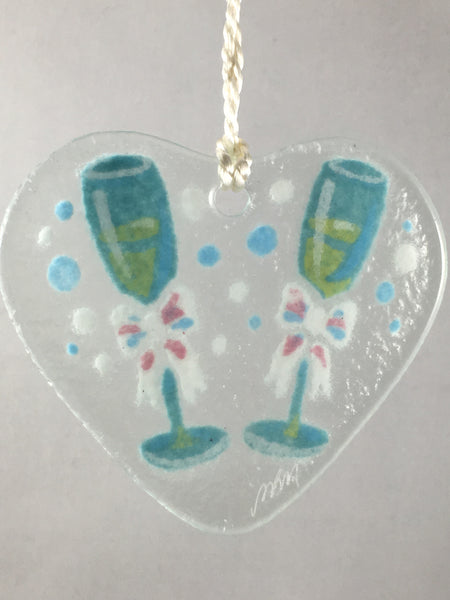 Peggy Karr Glass Champagne Flutes Ornament