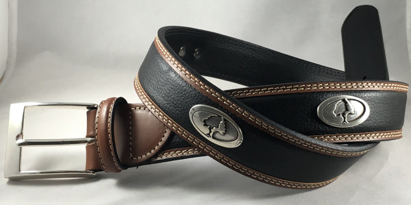 Mossy Oak Black/Brown Leather Belt