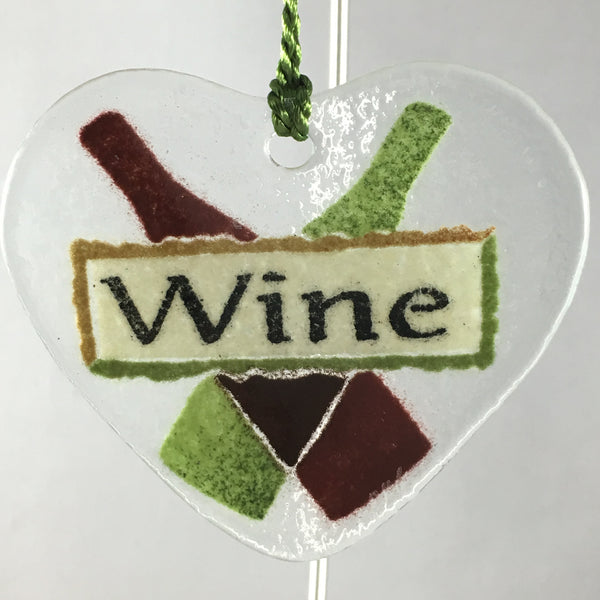 Peggy Karr Glass Wine Heart Ornament