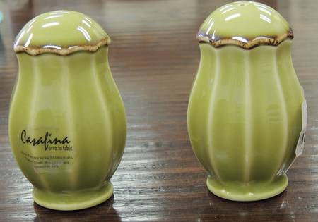 Autumn Waves Salt And Pepper Shaker In Celery And Cream