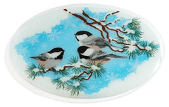 Peggy Karr Handcrafted Art Glass Chickadees