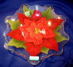 Peggy Karr Handcrafted Art Glass (Flower) Red Poinsettia