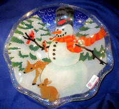 Peggy Karr Handcrafted Art Glass (fluted) Snowman