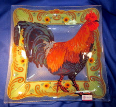 Peggy Karr Handcrafted Art Glass Bowl Rooster