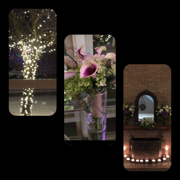 home wedding, love, flowers, christmas lights, bouqets