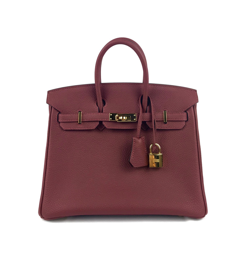 Birkin 25cm Bordeaux Togo Leather Gold Hwr