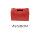 Chanel Red Lambskin Hand Held Flap Bag