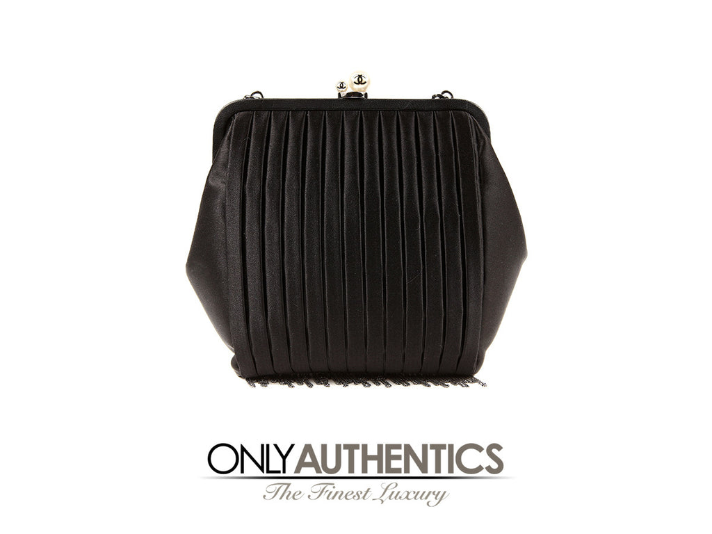 Chanel Runway Black Satin Pearl Chain Fringe Evening Bag
