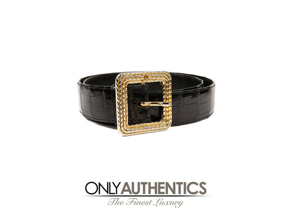 Black Crocodile Belt with Gold Square Buckle