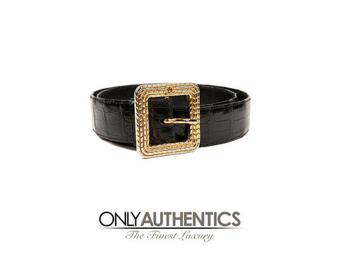 Chanel Black Crocodile Belt with Gold Square Buckle