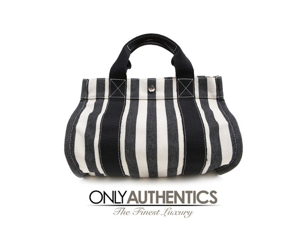 Hermès Black and White Canvas Tote Bag