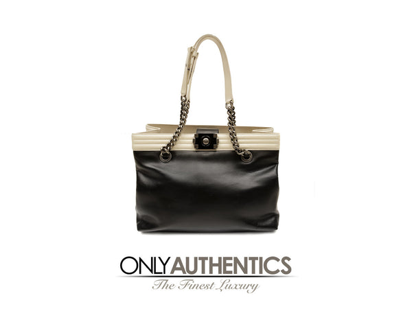 Black Cream Leather Quilted Boy Shopper Tote