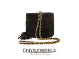 Chanel Black Suede Top Zip Tassel Bag