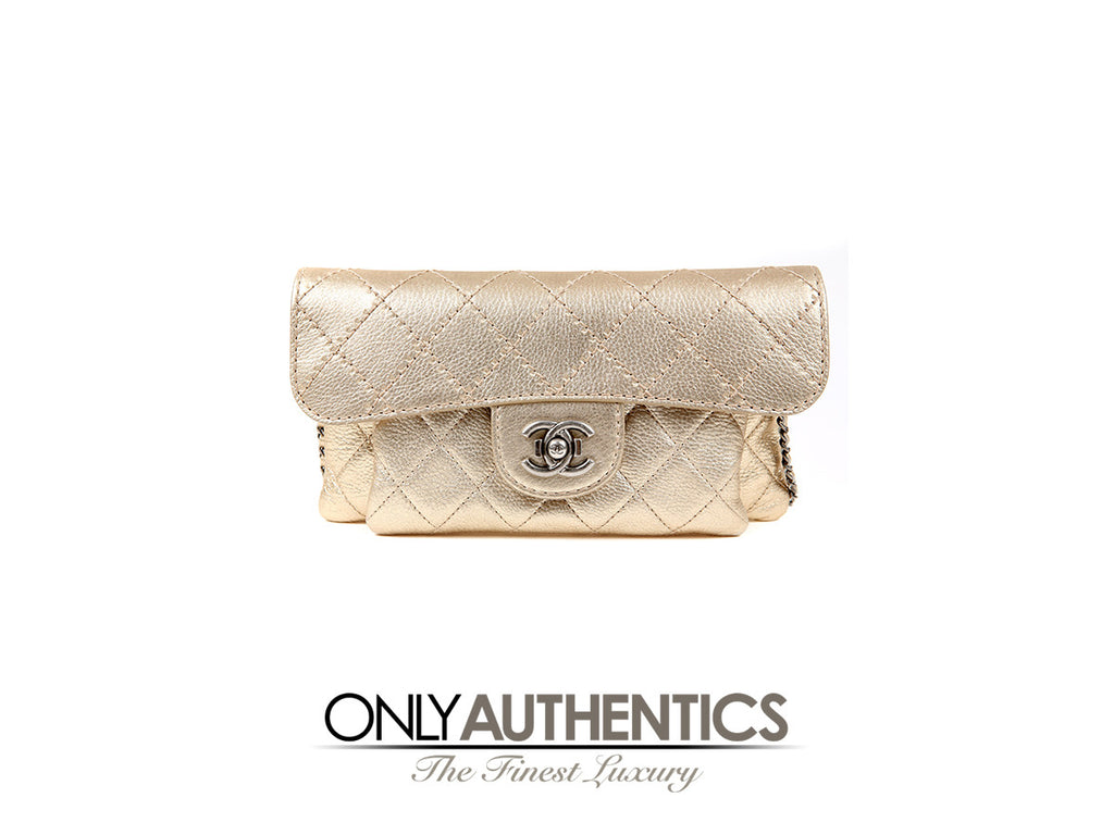 Chanel Gold Leather Cross Body Clutch with Boy Bag Clasp