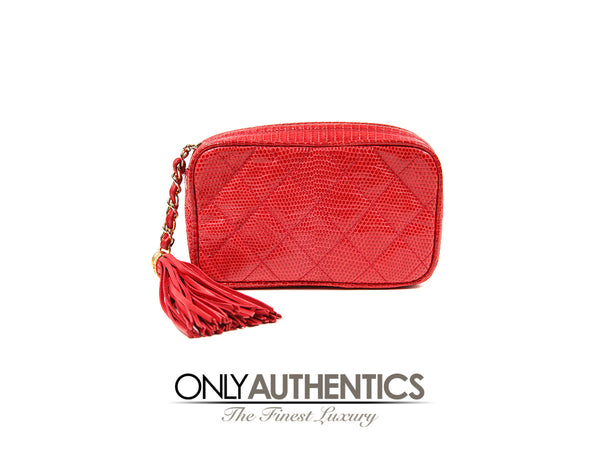 Chanel Vintage  Red Lizard Tassel Clutch