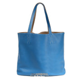 Hermès Blue Jean and Etoupe Clemence Double Sens PM Tote 36 cm