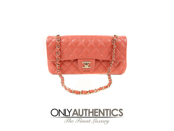 Chanel Salmon Lambskin East West Flap Bag