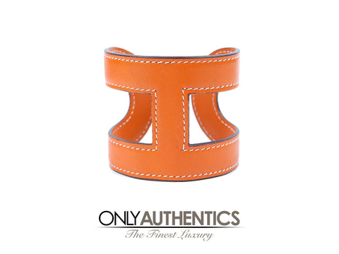 Hermès Orange Leather H Cuff Bracelet