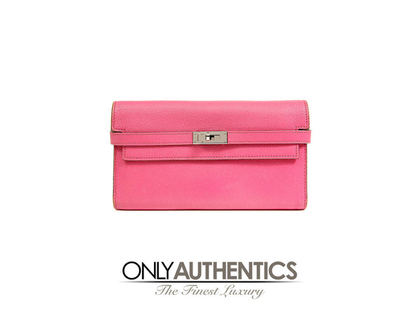 (N) Kelly Fuchsia Chevre Leather Wallet