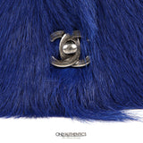 Chanel Blue Orlay Fur Wallet on a Chain Runway Bag
