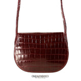 Hermès Vintage Bordeaux Crocodile Small Crossbody Bag