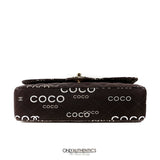 Chanel Brown Medium  COCO  Printed Canvas Classic Flap