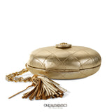 Chanel Vintage Gold Leather Oval Clutch