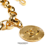 Chanel Gold Oversized Chain Belt Necklace  with CC Disc