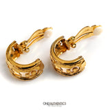 Chanel Gold Cutout Clip On Earrings