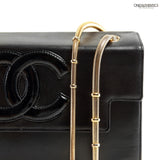 Chanel Black Leather Snake Chain Flap Bag