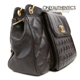 Chocolate Brown Leather Quilted Pocket Tote