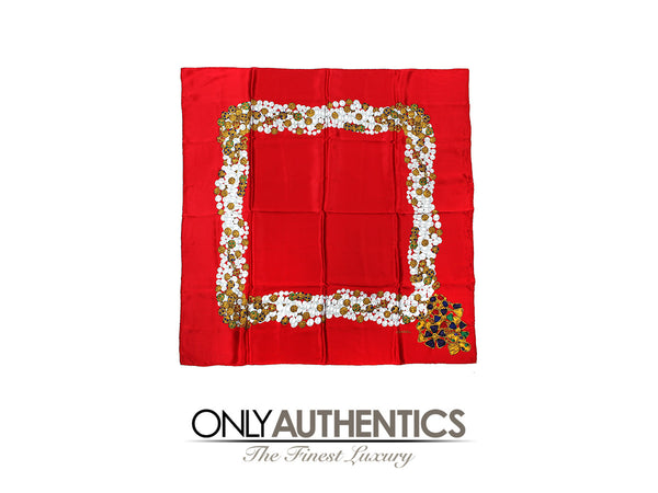 Chanel Red Silk Gripoix Scarf