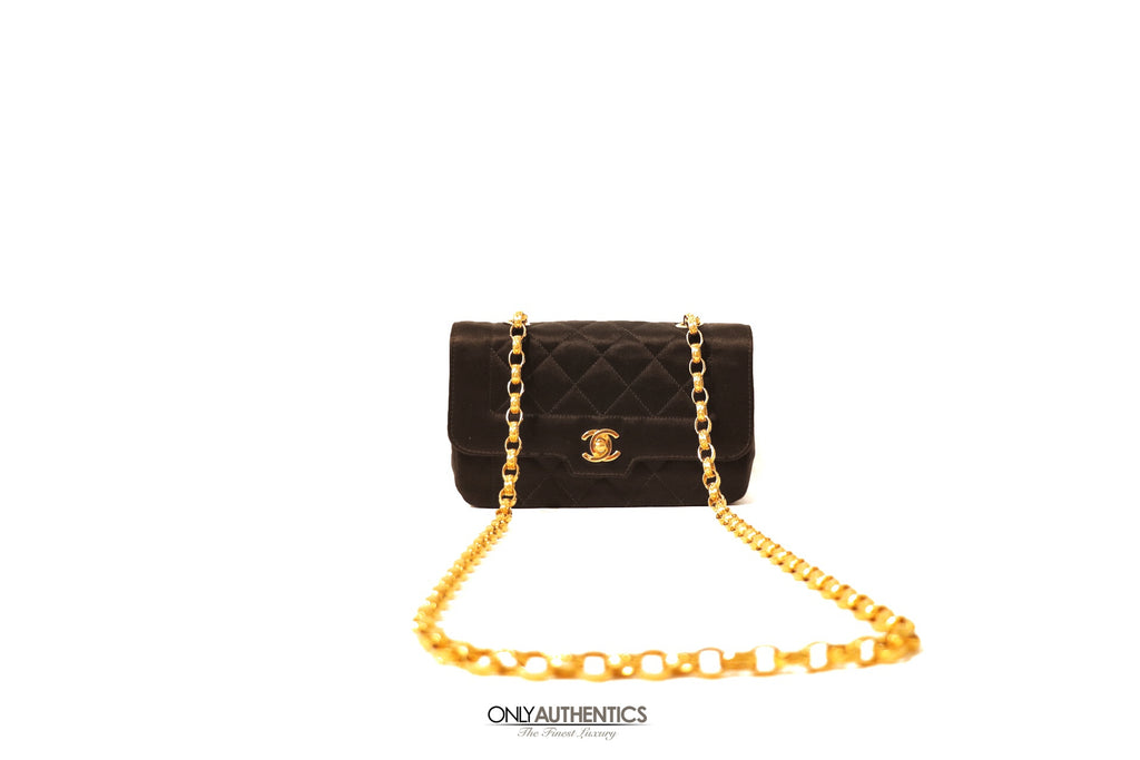 Chanel Black Quilted Satin Evening Bag