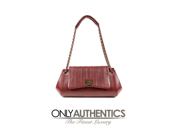 Chanel Burgundy Leather Vertical Quilted Accordion Flap Bag