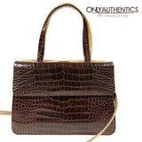 Judith Leiber Camel and Brown Croc Double Sided Bag
