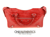 Balenciaga Red Crocodile City Bag