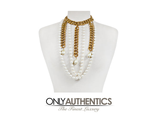 Chanel Gold Chain and Pearl Collar Vintage Necklace