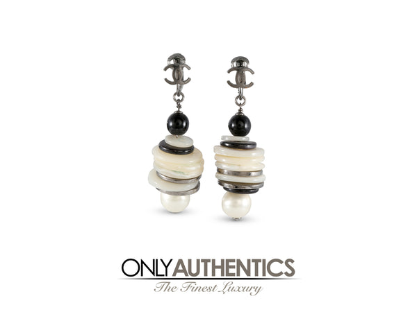 Chanel Black and White Layered Button Earrings