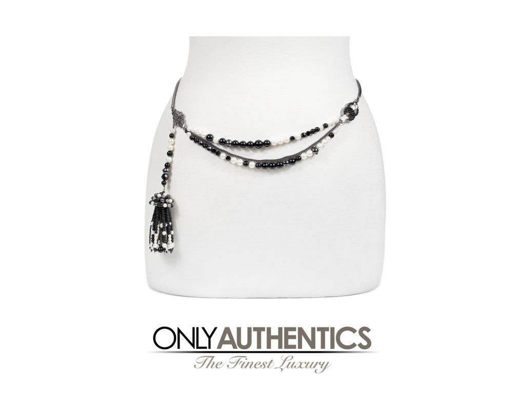 Chanel Black and White Pearl Tassel Belt Necklace