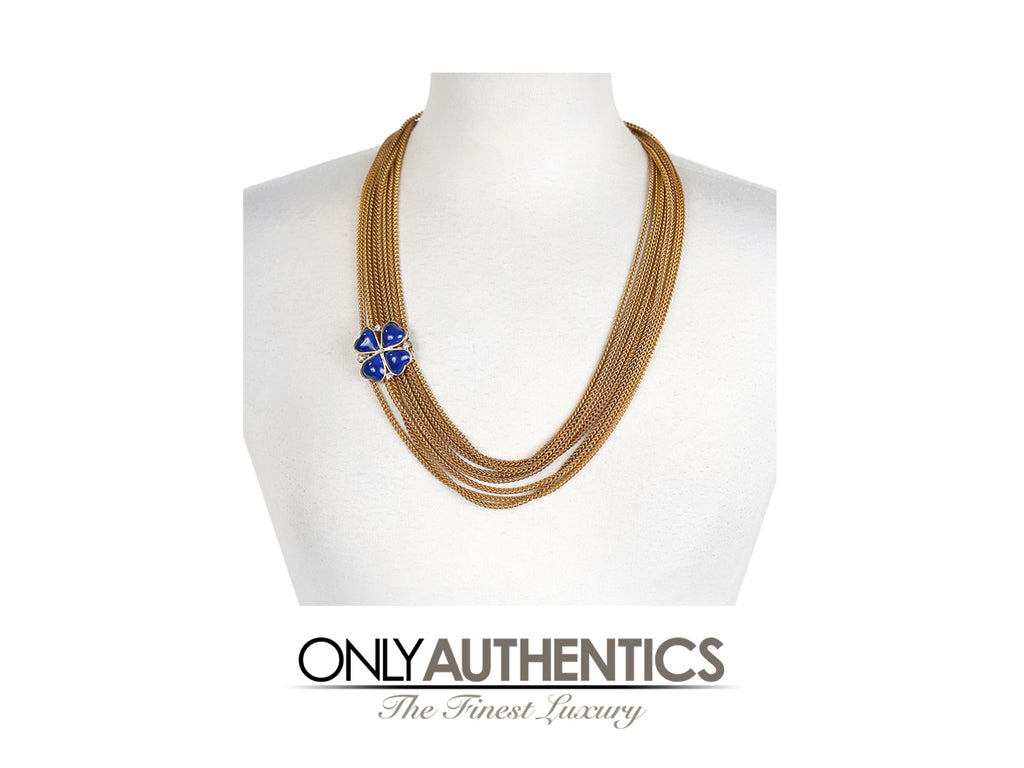 Chanel Blue Clover Gold Multi Chain Necklace