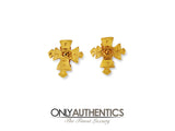 Chanel Gold Maltese Cross Earrings